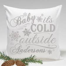 Personalized Baby its Cold Outside Holiday Throw Pillows