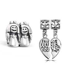 Pandora Halloween Charms by Sterling Best Friends Forever Heart Sisters Bead Set Fits Pandora