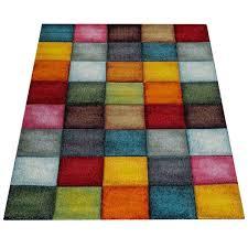 paco home kurzflor wohnzimmer teppich bunt karo design