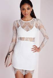 missguided lace long sleeve bodycon dress white lestat our