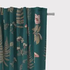 schöner leben vorhang ottoman farne gräser pilze pflanzen petrol 245cm oder wunschlänge