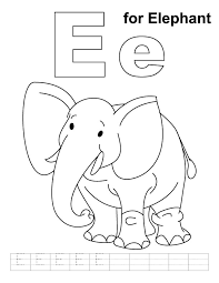 E For Elephant Coloring Page With Handwriting Practice