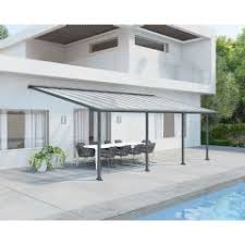 Palram Patio Cover Grey by Garden Awnings Sale Fast Delivery Greenfingers Com