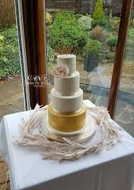 Ivory Gold And Blush Wedding Cake With Large Whimsical Rose Topper At Wentbridge House Hotel
