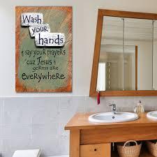Bathroom Art Wash Your Hands Say Your Prayers Canvas Wall Art Bathroom Decor