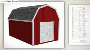 10x12 Gambrel Shed Material List by G484 12 U0027 X 20 U0027 Gambrel Barn Shed Plans Youtube