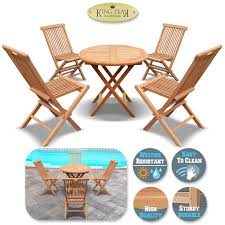 Details About King Teak Outdoor Golden Teak Wood 4PC Folding Chair And 1 PC  Round Table Set, Cheap Teak Patio Chairs Sale Find Outdoor Fniture Set Fniture Tables On Ellis Ding Chair Stellar Couture Outdoor Shell Easy Shell Collection Fueradentro Amazoncom Amazonia Belfast Position Benefitusa Recling Folding Wood Set 1 Table 2 Chairs High Top Table And Round Buy Upland Arm In W White Cushions By Modway Petaling Jaya Selangor Malaysia Mallie And Wicker Basket Double Chaise Lounge With
