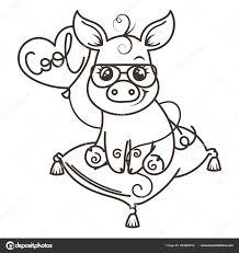 Chancho Caricatura Para Colorear Cerdo De Dibujos Animados Lindo