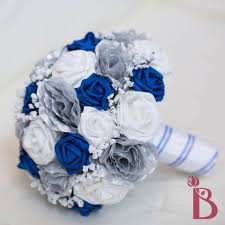 Awesome Blue And Silver Wedding Bouquets Photos