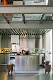 cuisines inox cuisine inox with bloc cuisine kitchen contemporary and wooden bar