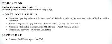 Real Estate Resume Sample New Additional Skills Examples Basic Puter Of