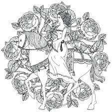 Coloring Pages Mandala Page Princess Horse Printable Colouring For Adults Free Pdf
