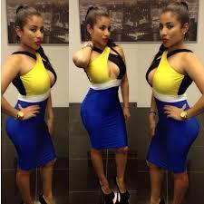 Multi Color Combination Of Fashion Knee Length Sexy Bandage Dress Club Wear Off The Shoulder Nightclub Bodycon