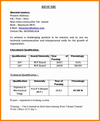 Resume Format For Mechanical Engineering Students Pdf Best Of Diploma Templates Zigy