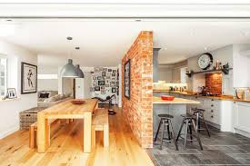 American Style Kitchen Diner With Exposed Brick Wall