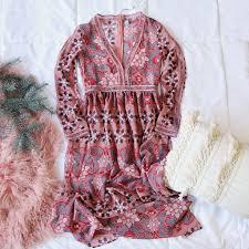 100 The Madalion Medallion Maxi Dress In Mauve Sweet Boho Fall Dresses