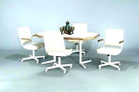 Dining Table And Chairs With Casters On Room Wheels Arms Caster Chair Rolling Fancy D