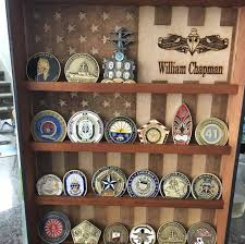 Hanging Wood Military Coin Holder Engraved Shelf Collectables American Flag Display
