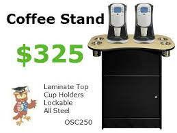 OSC 250 Office Coffee Stand With Oak Formica Top 4 Cylinder Condiment Cups 325 Specifications 35 Wide X 195 Deep 32 High