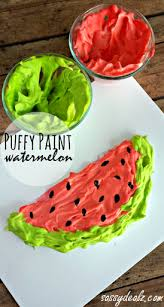 Watermelon Puffy Paint Craft For Kids