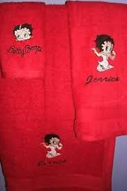 sexy betty boop kneeling personalized 3 piece bath towel set your