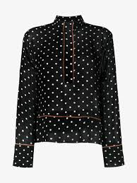 ganni monette polka dot blouse blouses browns fashion