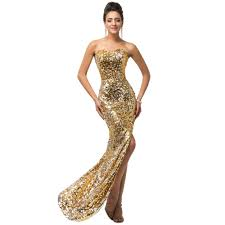 collection long gold strapless prom dress pictures