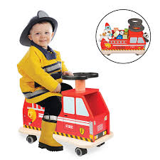 Amazon.com: Svan Ride On Fire Truck Solid Wood - Removable Seat ...