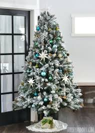 Flocked Xmas Trees A Turquoise Teal Silver And White Vintage Inspired Tree Snow Christmas Artificial
