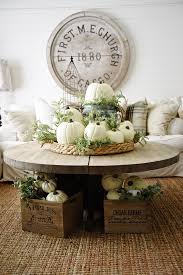 Fall Table Decoration On A Rustic Coffee