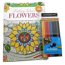 Finding Solace Flowers Adult Coloring Book Bundle With 12 Prismacolor Scholar Erasable Wooden Colored Pencils