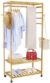 unho kleiderständer bambus garderobenständer auf rollen offener kleiderschrank mit schuhablage kleiderstange haken stabil für schlafzimmer flur 80