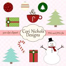 Instant Download Christmas Clipart Winter Holiday Digital Graphic Illustration Set JPEG PNG File Commercial And Personal Use