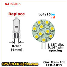 led 1019 lg4s10rd lg4s10bu g4 led bulb side pin 12 volt led
