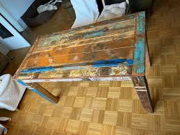 vintage esstisch tisch küchentisch esszimmer aus altholz shabby
