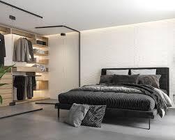 funktionelles und modisches schlafzimmer mit garderobe
