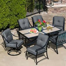 Sears Lazy Boy Patio Furniture by La Z Boy Outdoor Emerson 7 Pc Dining Set Graphite Shop Your