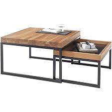 lifestyle4living couchtisch 2er set in asteiche massiv mit metall gestell in schwarz moderne wohnzimmertische 65 x 65 cm
