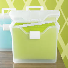 Iris Clear Letter Size Portable File Box with Snap Closure