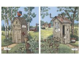 Primitive Bathroom Decor Cheap by Amazon Com 2 Vintage Outhouse Pictures Bathroom Privy Poster