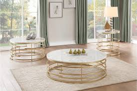 Homelegance Brassica 3pc Gold Round Coffee Table Set