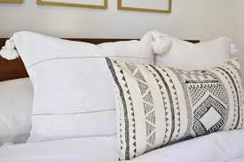 Moroccan Pom Pom Pillow White & Gold Rug & Weave