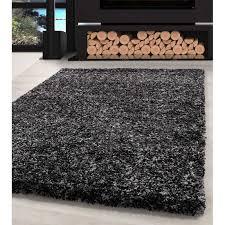 shaggy teppich hochwertig hochflor wohnzimmer anthrazit grau weiß meliert