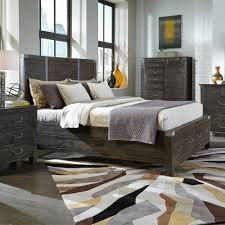 Abington Wood Panel Bed in Weathered Charcoal