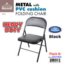#1237-BLK PVC & Cushion Heavy Duty Chair - Black (Case Pack 6 Pcs) -