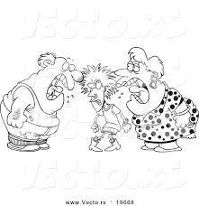 Fighting Family Clipart Black And White