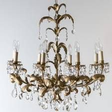 Italian Eight Light Chandelier Gold Leaf Design