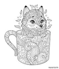 Adult Antistress Coloring Page With Animal In Zentangle Style Vector Illustration