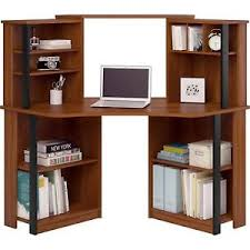 corner computer desk with hutch for home office shelf units cherry