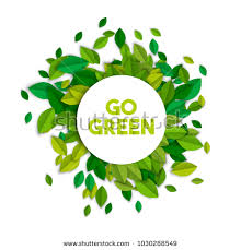Go green text sign concept illustration with leaf pile in paper cut style Ecology typography